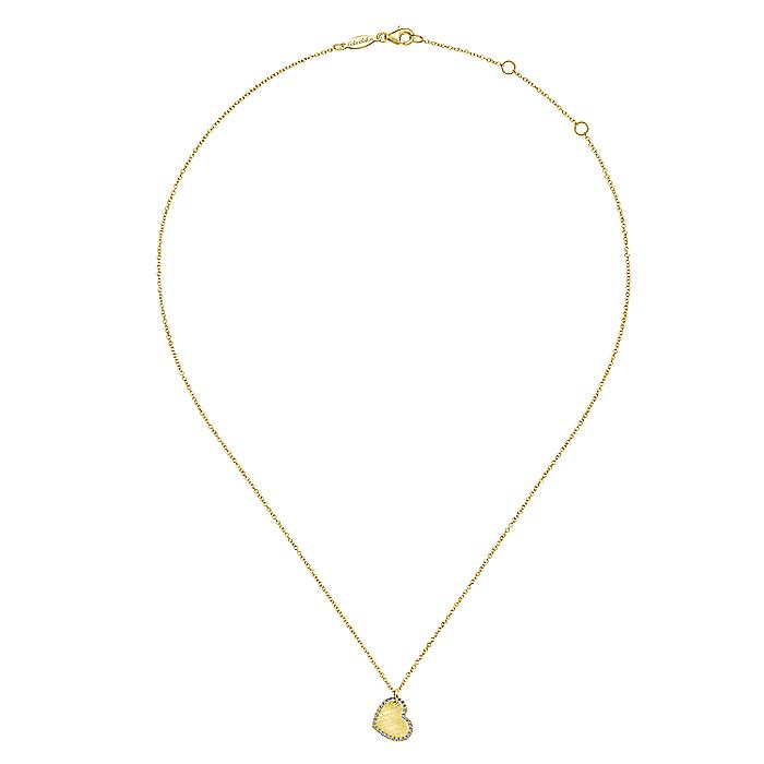 Sideways 14K Yellow Gold Engraved Heart Pendant Necklace with Diamond Frame