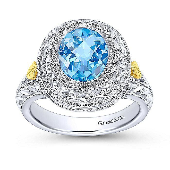 Silver/18K Y.G Blue Topaz Ring