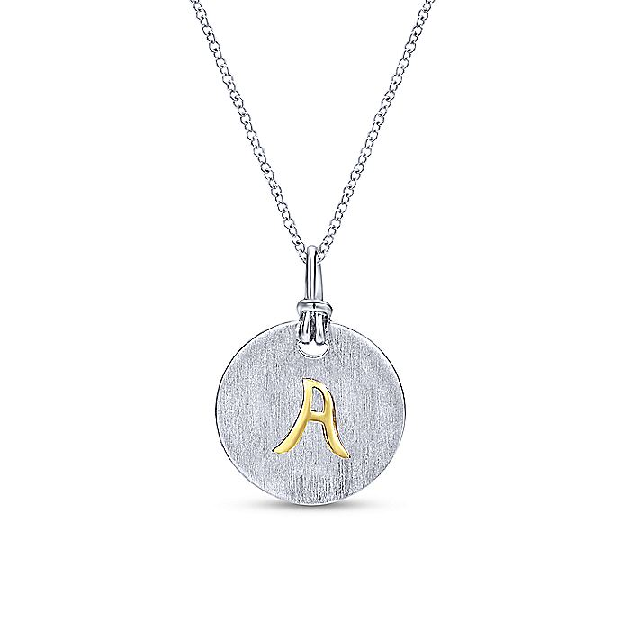 Silver 18K Yellow A Initial Round Disk Necklace