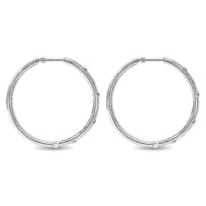 Silver-18K Yellow Gold 50MM Fashion Earrings