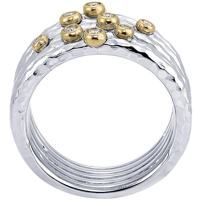Silver/18K Yellow Gold Bezel Set Diamond Layered Wide Band Ring