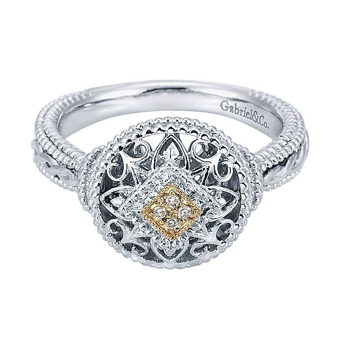 Silver-18K Yellow Gold Diamond Ladies Ring