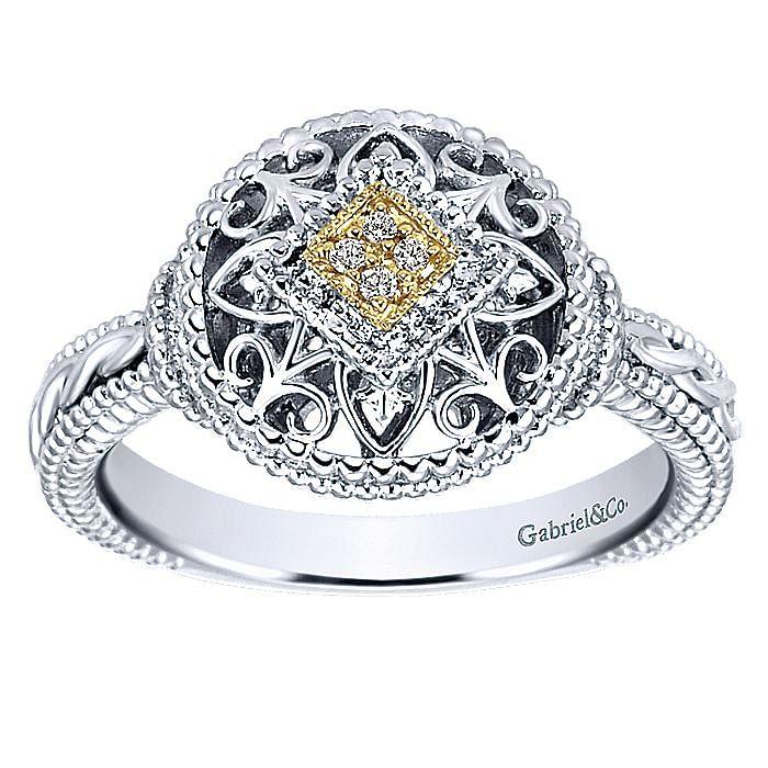 Silver-18K Yellow Gold Diamond Ladies Ring