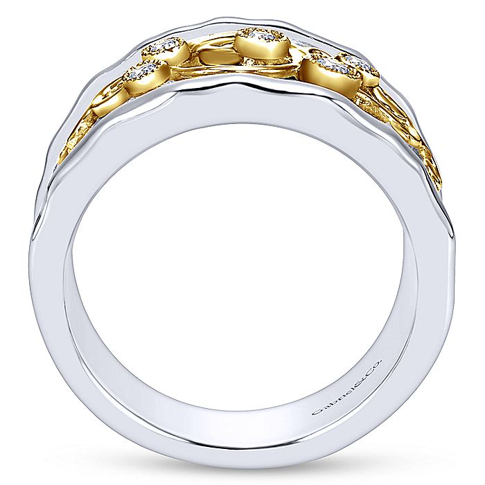 Silver/18K Yellow Gold Embossed Scrollwork Diamond Wide Band Ring
