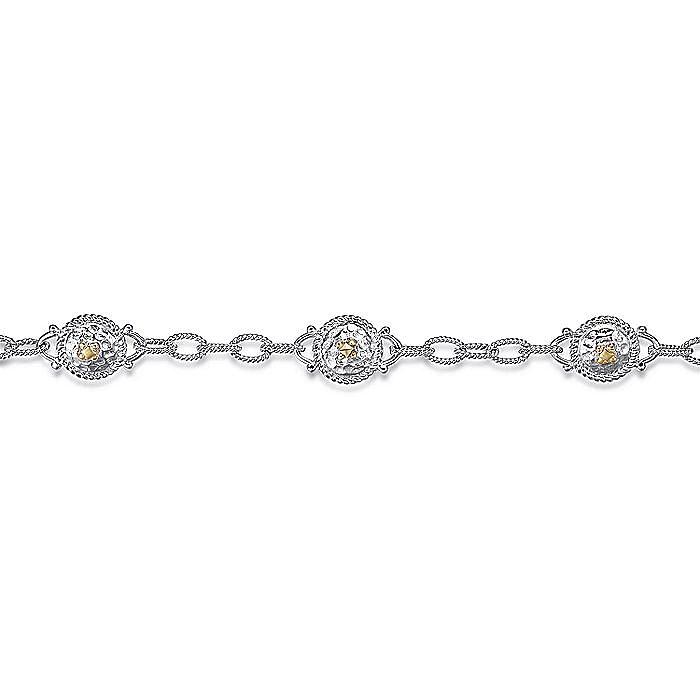Silver-18K Yellow Gold Fashion Bracelet