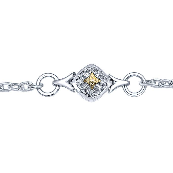Silver-18K Yellow Gold Fashion Bracelet