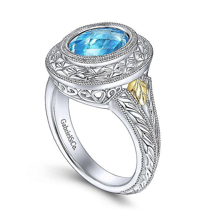 Silver-18K Yellow Gold Fashion Ladies Ring