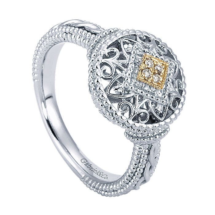 Silver-18K Yellow Gold Vintage Inspired Round Filigree Diamond Ring