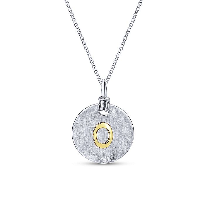 Silver 18K Yellow O Initial Round Disk Necklace