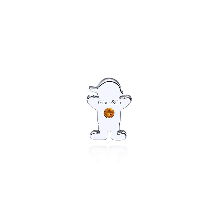 Silver Citrine Little Boy Charm Pendant
