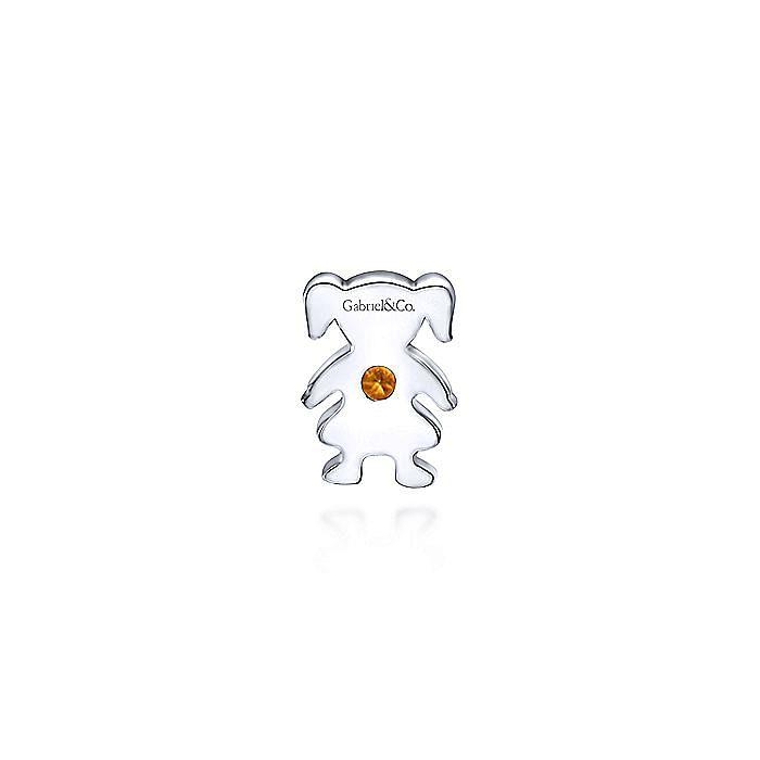 Silver Citrine Little Girl Charm Pendant