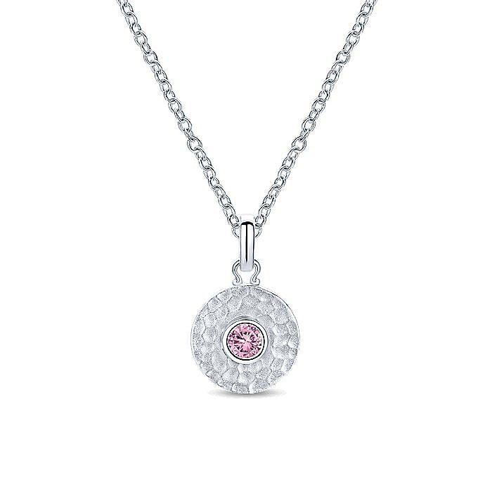 Silver Fashion Pink Created Zircon Pendant