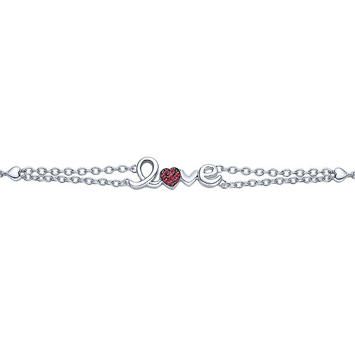 Silver 'LOVE' Bracelet with Rubies