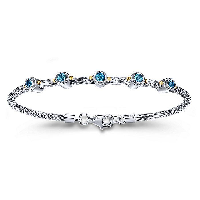 Silver and Stainless Steel 18K Yellow Gold Bangle with Blue Topaz Gemstones