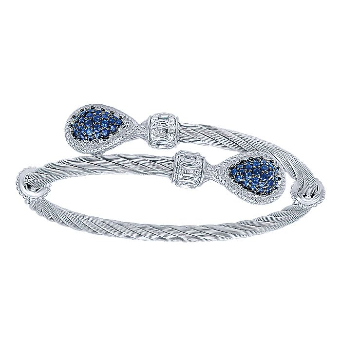 Silver and Stainless Steel Bangle with Blue Sapphires