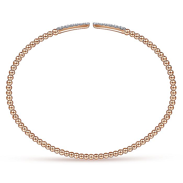 Split 14K Rose Gold Bujukan Bead Cuff Bracelet with Diamond Pavé Spikes