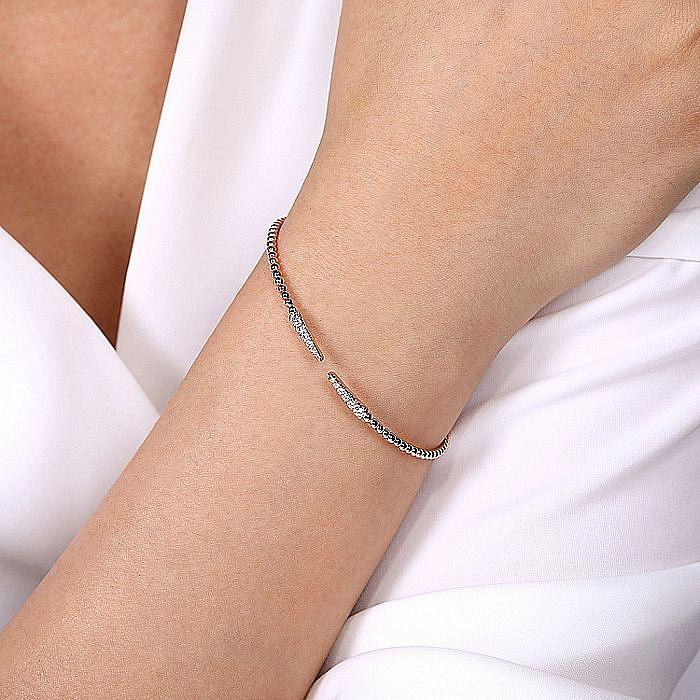 Split 14K Rose Gold Bujukan Bead Cuff Bracelet with Diamond Pavé Spikes