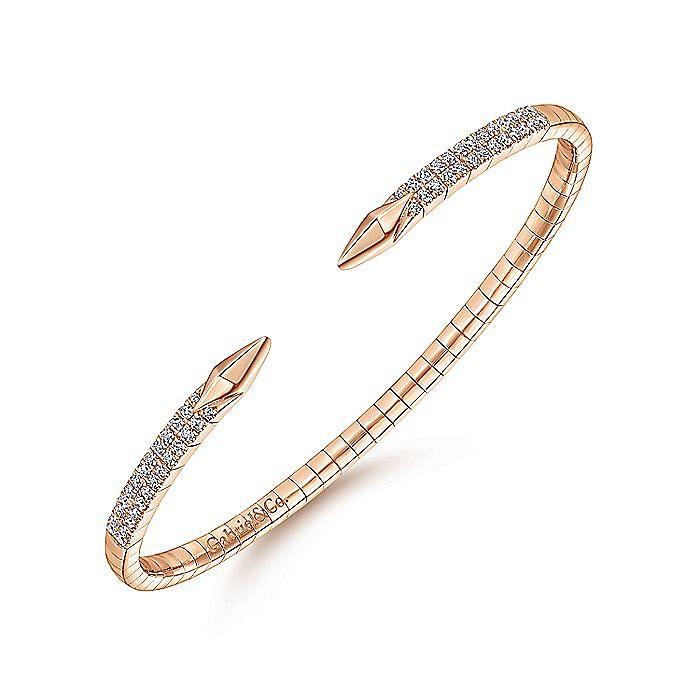 Split 14K Rose Gold Diamond Spear Bangle