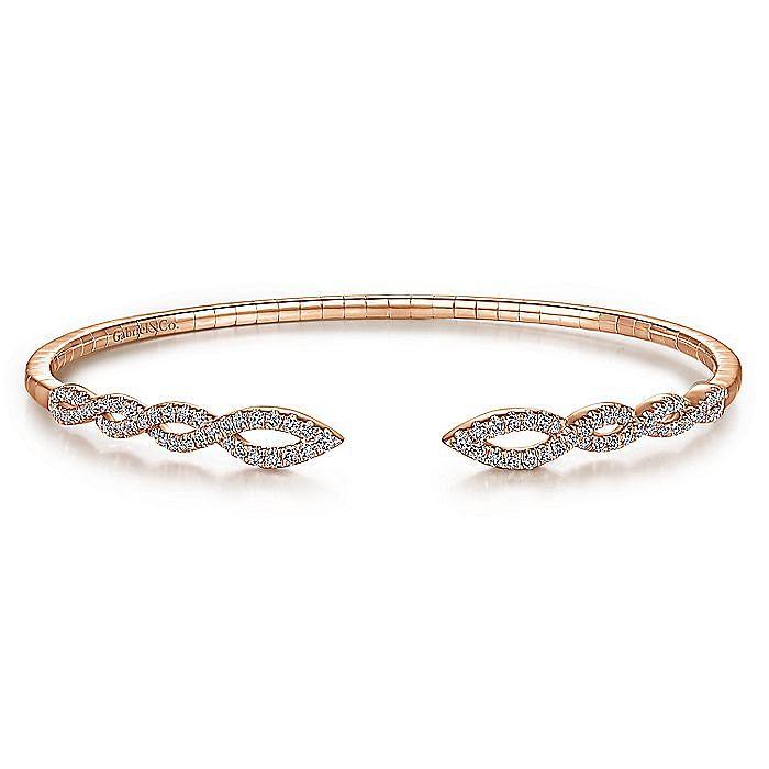 Split 14K Rose Gold Twisted Diamond Bangle