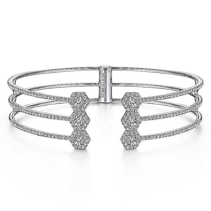 Split 14K White Gold Bangle with Diamond Hexagon Caps
