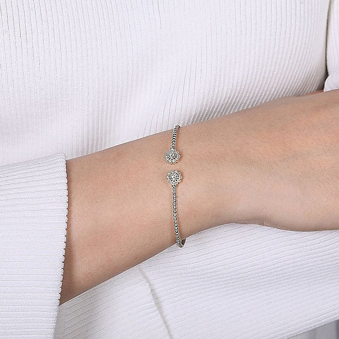 Split 14K White Gold Bujukan Bead Bangle with Floral Diamond Endcaps