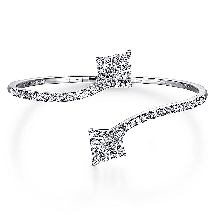 Split 14K White Gold Diamond Leaf Bypass Bangle