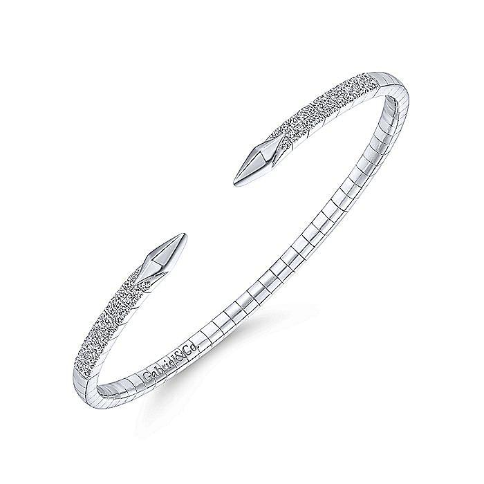 Split 14K White Gold Diamond Spear Bangle