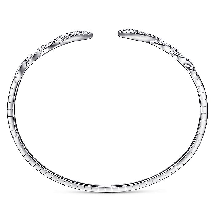 Split 14K White Gold Twisted Diamond Bangle