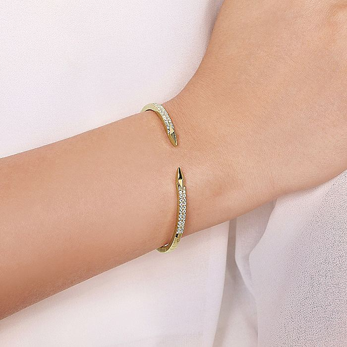 Split 14K Yellow Gold Bangle with Diamond and Rhombus Accents