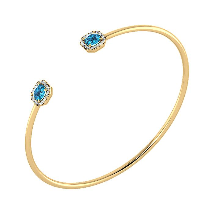 Split 14K Yellow Gold Blue Topaz and Diamond Halo Hexagon Bangle