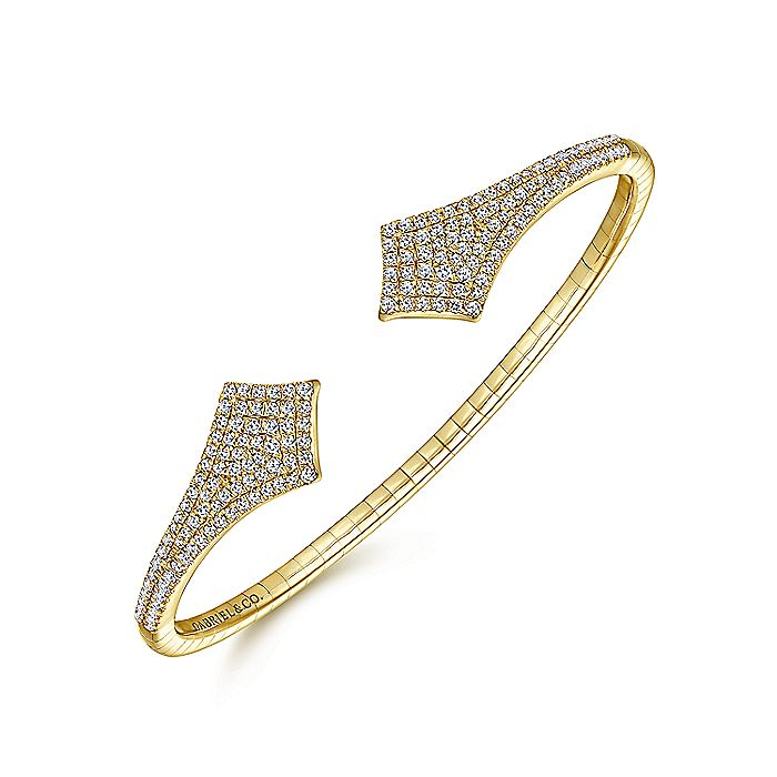 Split 14K Yellow Gold Diamond Pavé Kite Bangle