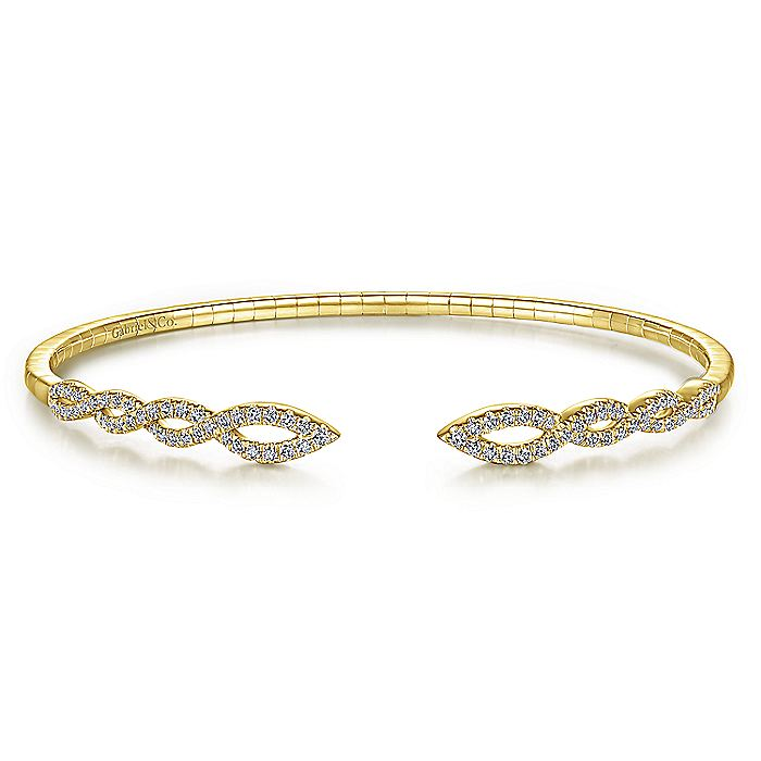 Split 14K Yellow Gold Twisted Diamond Bangle