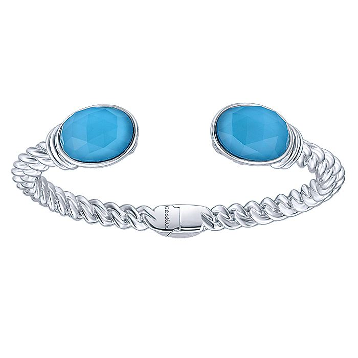 Split 925 Sterling Silver Oval Rock Crystal and Turquoise Bangle