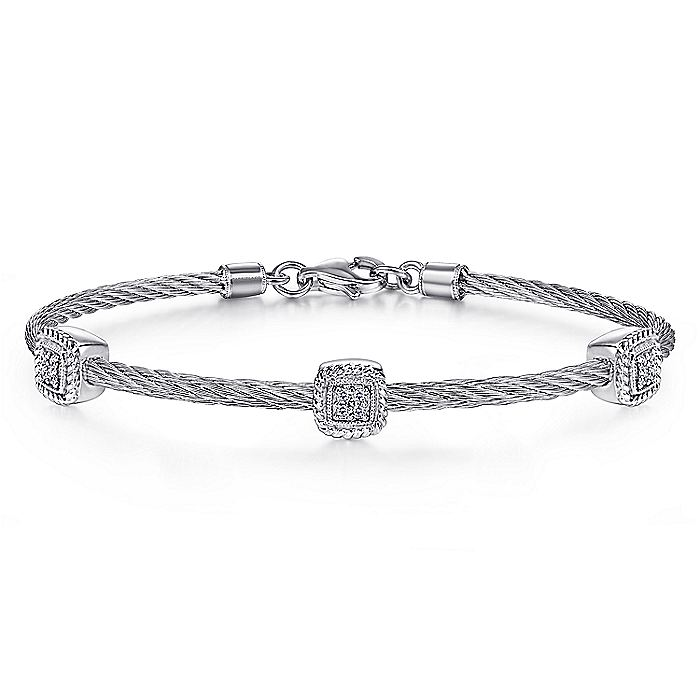 Stainless Steel Twisted Cable Bangle with 3 Square Diamond Cluster Sterling Silver Stations