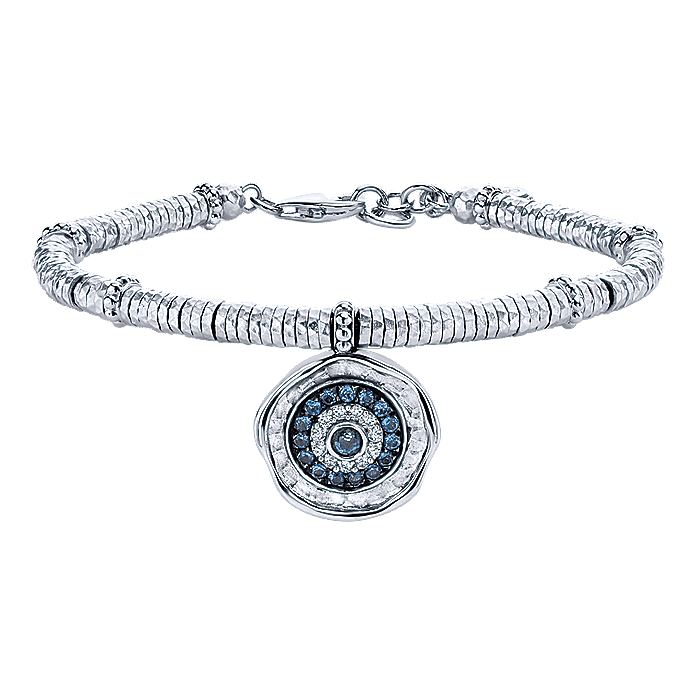 Stainless Steel and 925 Sterling Silver Evil Eye Charm Bracelet