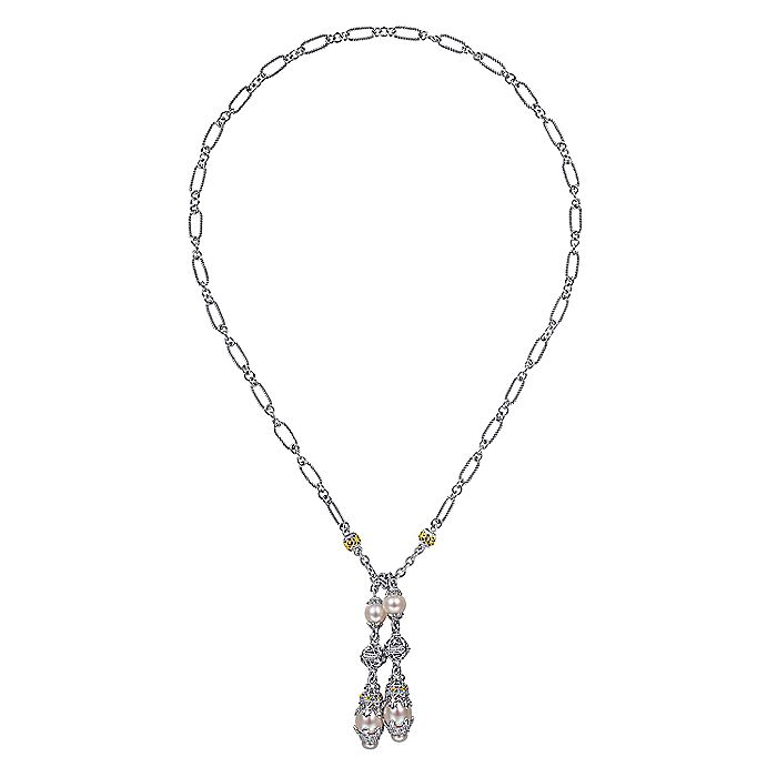 Sterling Silver-18K Yellow Gold Filigree and Pearl Double Drop Necklace