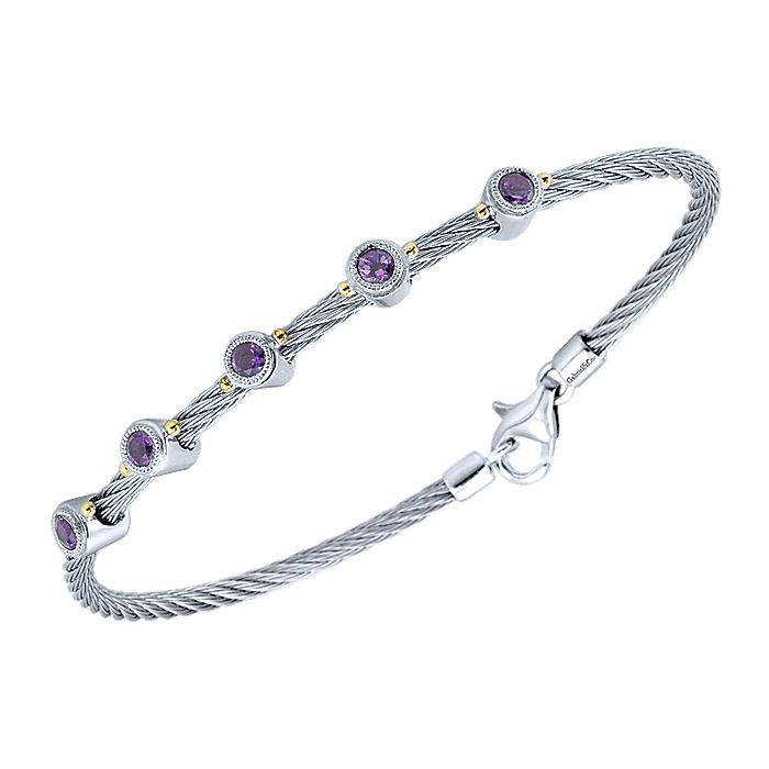 Sterling Silver and Stainless Steel Twisted Rope Bezel-Set Amethyst Cable Bracelet
