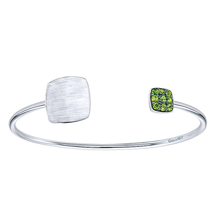 Sterling Silver with Pavé Peridots and Open Silhouette