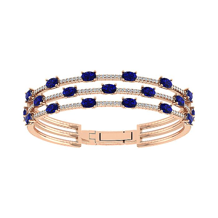Three Row 14K Rose Gold Sapphire and Diamond Station Bangle