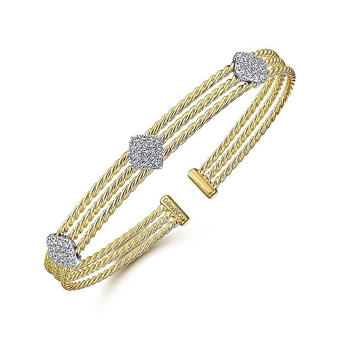 Twisted 14K Yellow Gold Bangle with Three White Gold Diamond Pavé Stations