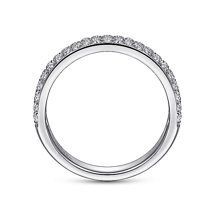 Two Row 14K White Gold Micro Pavé Diamond Anniversary Band