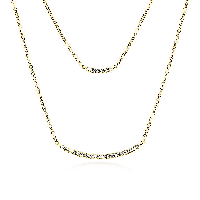 Two Strand 14K Yellow Gold Curved Diamond Bar Necklace