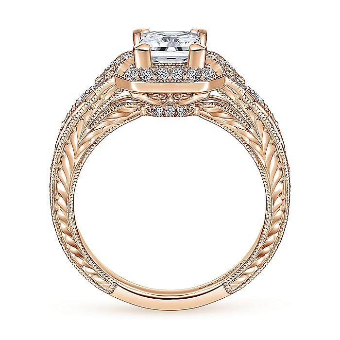 Unique 14K Rose Gold Art Deco Princess Cut Halo Engagement Ring