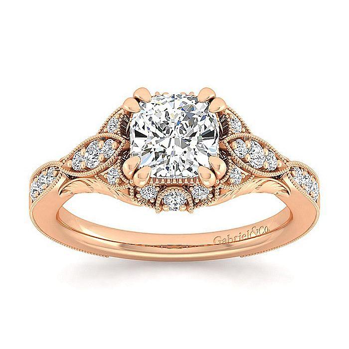 Unique 14K Rose Gold Vintage Inspired Cushion Cut Diamond Halo Engagement Ring