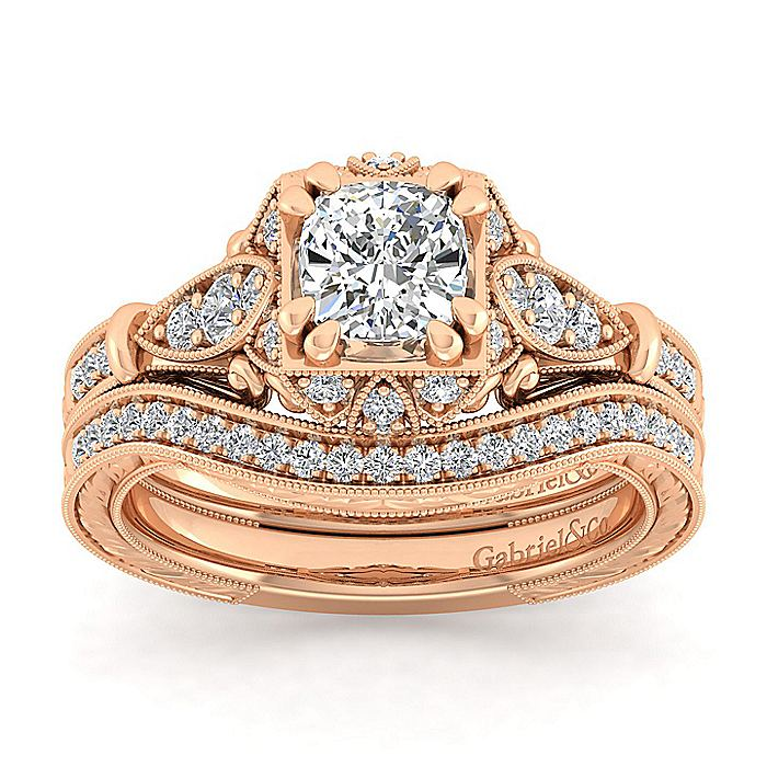 Unique 14K Rose Gold Vintage Inspired Cushion Cut Halo Diamond Engagement Ring