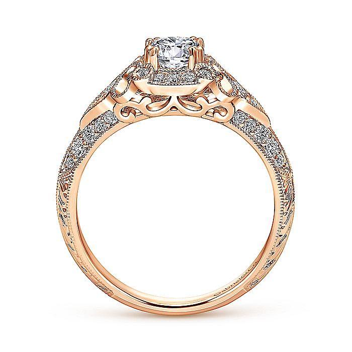 Unique 14K Rose Gold Vintage Inspired Diamond Halo Engagement Ring