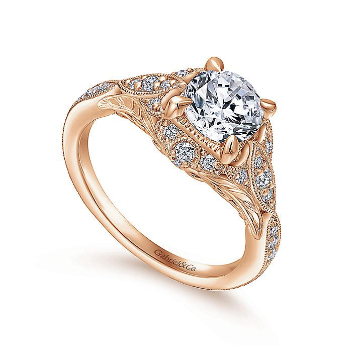 Unique 14K Rose Gold Vintage Inspired Diamond Halo Engagement Ring