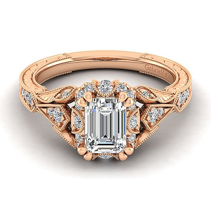 Unique 14K Rose Gold Vintage Inspired Emerald Cut Diamond Halo Engagement Ring