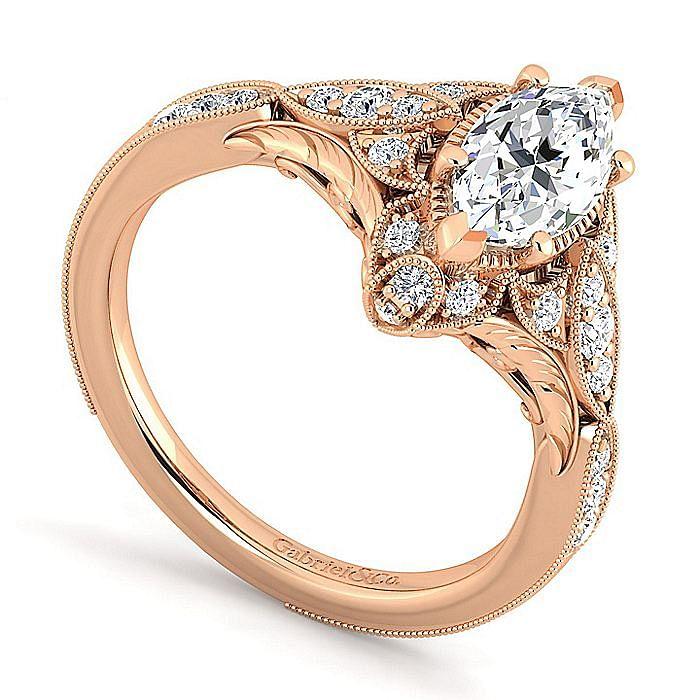 Unique 14K Rose Gold Vintage Inspired Marquise Shape Diamond Halo Engagement Ring