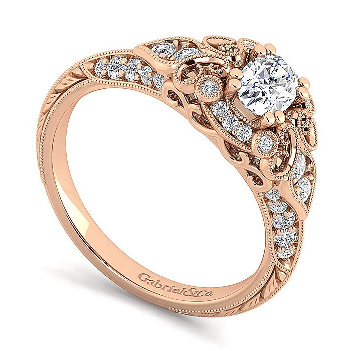 Unique 14K Rose Gold Vintage Inspired Oval Diamond Halo Engagement Ring